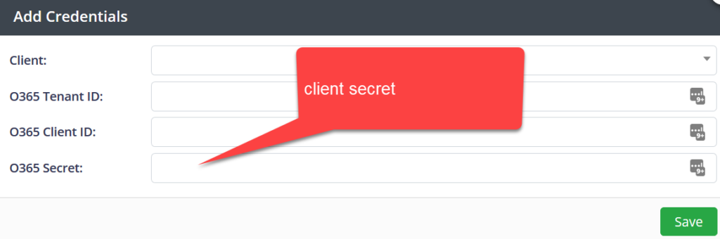 Add the client secret pane.