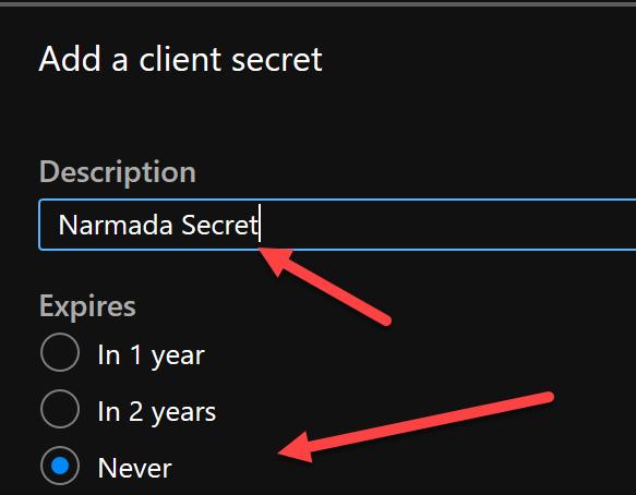 Add client secret.