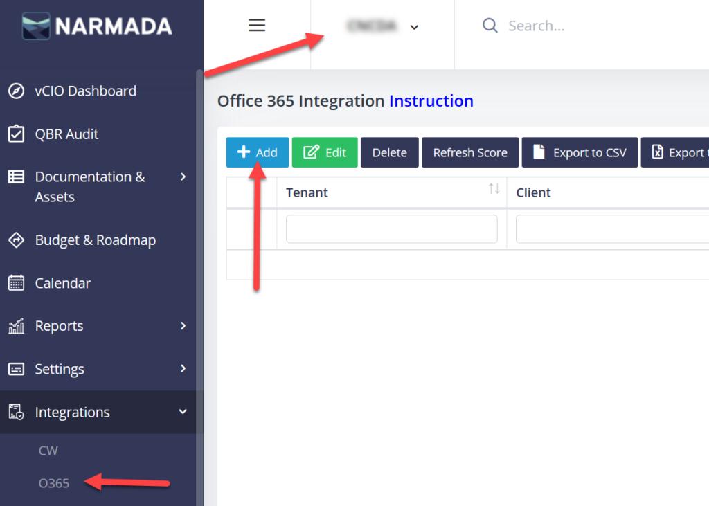 Create new Office 365 Secure Score integration.