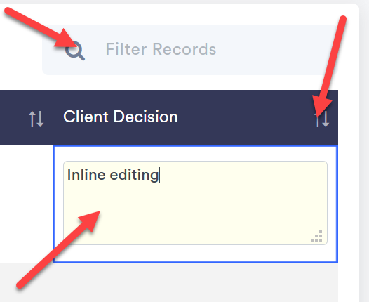 Inline editing and filtering.