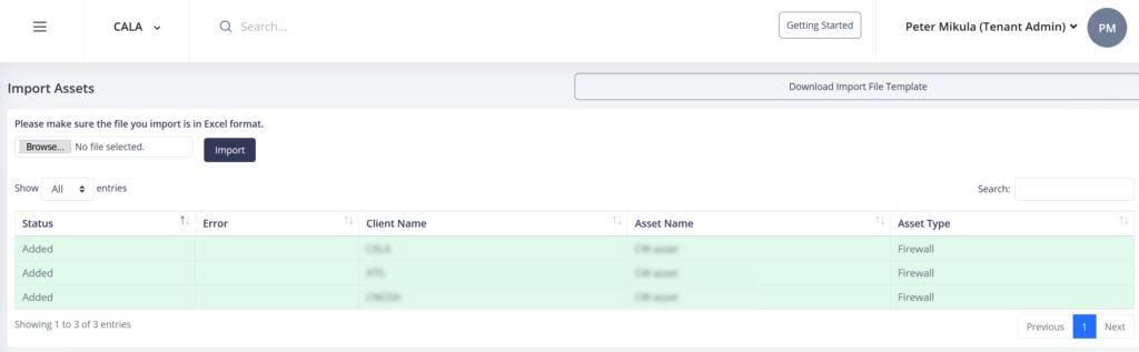 Import assets log screen.