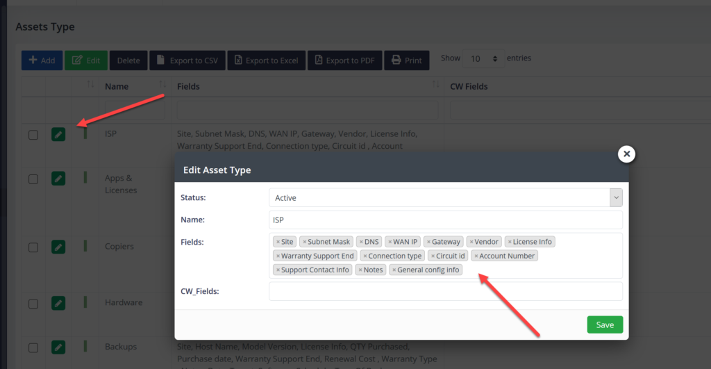 Edit asset types.