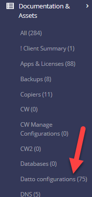 Datto configurations menu item.
